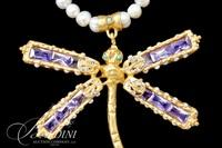 Dragonfly Necklace with Purple Glass Stones and Fresh Water Pearls