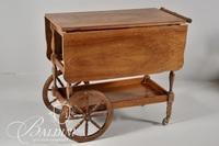 Wood Drop Leaf Tea Cart on Wheels