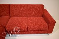 Red Upholstered Sectional Sofa on Chrome Legs