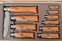 (10) Opinel Carbon Blade Folding Knife Box Set with Assorted Blade Lengths, Made in France