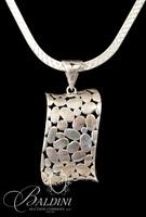 "Sterling Silver 18"" Herringbone Chain with Pierced Twisted Pendant - Total 22 Grams"