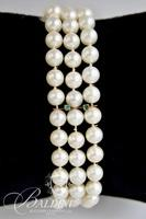 Lady's Triple Strand Cultured Pearl Bracelet with Green Chalcedony in Clasp - 30.7 Grams