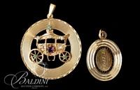 14 Karat Yellow Gold Brooch with Small Gems in a Carriage Figure and Plated Oval Pendant - 8.2 Grams
