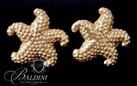 Pair of 14K Yellow Gold Starfish Pierced Earrings - 4.2 Grams