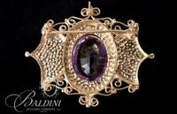 14K Yellow Gold Baroque Design Brooch with an Oval Faceted Amethyst and 16 Seed Pearls - 13.6 Grams
