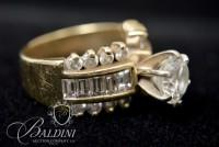 14K Yellow Gold Engagement/Wedding Ring with Over 4 Carats of Diamonds - 9.5 Grams