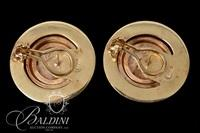 14K Yellow Gold Rope Trimmed Earrings Featuring Replica of Ancient Greek Coins - 11.3 Grams