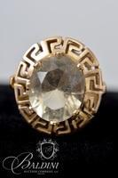 14K Yellow Gold Greek Key Pattern Ring Holding Smoky Quartz - 5.8 Grams