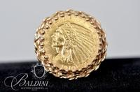 14K Yellow Gold Ring Holding a .900 Gold U.S. $2 1/2 Dollar Indian Head Coin Dated 1910 - P - 9.8 Grams