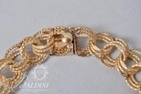 """14K Yellow Gold 7.5"""" Long Triple Link Charm Bracelet - 15.2 Grams"""