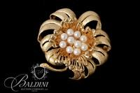 14K Yellow Gold Freeform Brooch with Ten Cultured Pearls - 15.0 Grams
