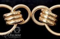 Pair of 14K Yellow Gold Double Hoop Pierced Earrings - 5.9 Grams