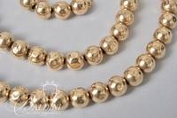 """14K Gold 20"""" Long Hammered Bead Necklace - 22.5 Grams"""