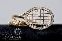 Lady's 14 K Yellow Gold Wrapped Tennis Racquet Design Ring Holding 1/2 Carat Diamonds - 6.2 Grams