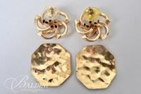 14K Yellow Gold Hammered Finish Earrings and 14K Floral Design Earrings - 10.6 Grams