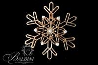 14K Yellow Gold Snowflake Pendant with 7 Diamonds - 6.1 Grams
