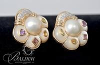 14K Yellow Gold Freeform Earrings Holding a Mabé Cultured Pearl and 12 Diamonds in Each Earring - 21.3 Grams