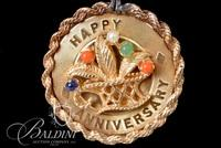 "14K Yellow Gold 24.5"" Rope Chain Holding Happy Anniversary Pendant with Gemstones - 25.2 Grams"
