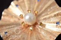 14K Yellow Gold Pendant Holding a Cultured Pearl Supported by Blue and Yellow Sapphires - 18.6 Grams