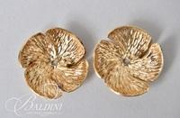 14K Yellow Gold Floral Design Earring Jackets and CZ Studs - 4.2 Grams