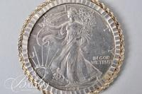 """Sterling Silver 30"""" Oval Link Chain Holding a .999 Silver Liberty Walking Bullion Coin in a Rope Frame Pendant - 55.6 Grams"""