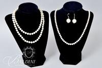 "23.5"" Cultured Pearl Necklace with 14K Floral Clasp, Costume Pearl Necklace and Earrings"