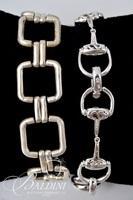 Sterling Silver Stirrup Bracelet, Bangle Bracelet and Square Link Bracelet - 79.6 Grams