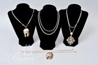 """Sterling Elephants, 23.5"""" Rope Chain, 30"""" Snake Chain w/ Oval Cut Rutilated Quartz, and One Other Snake Chain - 132.7 Grams"""