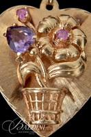 14K Yellow Gold Heart Shape Pendant with Heart Shape Amethyst and Small Gemstones - 9.4 Grams