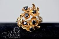 14K Yellow Gold Ring with Very Dark Blue Sapphires - 5.1 Grams