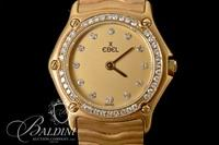 18K Yellow Gold Ebel Watch with Single Cut Diamonds on the Dial and Bezel - 65.3 Grams