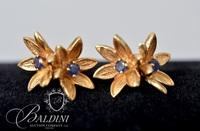 14K Yellow Gold Floral Design Earrings with Blue Sapphires and Small Diamond in Each - 5.8 Grams