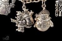 Sterling Silver Necklace with Sterling Christmas Theme Charms - 53.9 Grams