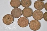 Assorted Foreign Coins Including Canadian 1 cent, (2) .835 French 5 Franc Coins, Churchill Commemorative Coin,  and Others