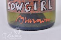 """Paul Harmon """" Cowgirl"""" Hand Painted in Oil on Green glass Wine Bottle"""