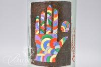 "Paul Harmon ""Hand of Many Colors"" Hand Painted in Oil on Clear Glass Wine Bottle"