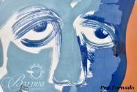 "DAMAGED- Paul Harmon ""Blue Boy"" Original Framed Casein on Paper, 1961"