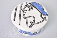 """Paul Harmon Hand Painted """"Girl with Blue Cap"""" Ceramic Box, Signed"""
