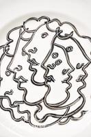 "Paul Harmon ""Feminine Profiles"" Hand Painted Round Ceramic Platter"
