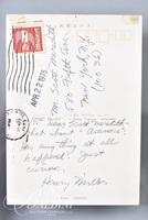 Henry Miller Two sided Postcard - From Henry Miller to His Publisher Scott Meredith, NYC, 1975