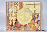 "DAMAGED- Paul Harmon ""The Plate"" Oil on Canvas, 1977, Signed and Dated on Reverse"