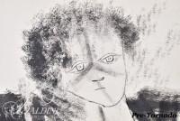 """DAMAGED- Eugene Vitalis Biel-Bienne (1902-1969) """"Grandmother"""" Original India Ink Dry Brush on Paper - Typical Biel-Bienne Signature """"E"""""""