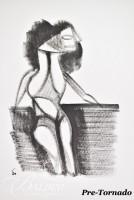 "DAMAGED- Eugene Vitalis Biel-Bienne (1902-1969) ""Seated Woman with Hose"" Original on Paper - Typical Signature ""E"""