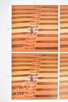 """Jean-Michel Folon """"Stairway"""" A sheet of Six Color 6"""" x 6"""" Images Offset Proof Sheets, Signed in Printing"""