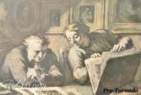 "DAMAGED- Daumier Offset Print Stained Border ""Print Collector"" and Botticelli Offset Print ""Abundance or Autumn"""