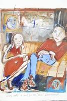 """Elisa Cossonnet """"Couple on Sofa"""" Original Acrylic and Collage on Heavy Paper"""