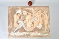 "Julio Silva ""Artist with Models"" Lithograph, HC 10 June 1977, Signed and Dedicated"