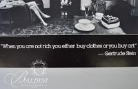 """Anne Hughes Poster 1982, Gertrude Stein """"When you are rich you either buy clothes or you buy art"""""""