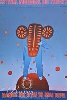 (2) Jean-Michel Folon Posters; Festival Mondial du Theatre, 1975 and Lily Aime-Moi