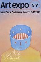 (2) Jean-Michel Folon Posters: Art Expo NY, 1979 and Spoleto (The Sphinx) 1977